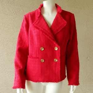 Chico's Raw Edge Double Breasted Red Jacket